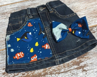 "Girls Denim Skirt ""Finding Nemo"", Distressed skirt infant girls & hair bow"