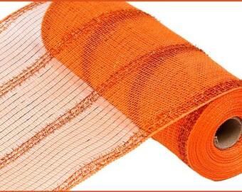 "10.5""X10yd Orange Wide Tinsel/Pp/Foil Deco Mesh/Wreath Supplies/RY840120"