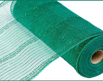 "10.5""X10yd Emerald Green Wide Tinsel/Pp/Foil Deco Mesh/Wreath Supplies/RY840106"