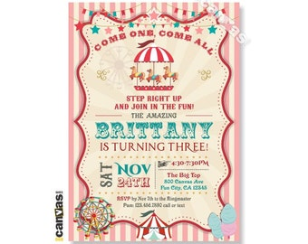 Carousel Invitations, First Birthday Party, Carousel Birthday, Carnival Invitation, Circus invites, Girl Pink Photo kids, Merry Go Round 96