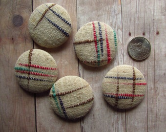 """Set of 5 Handmade Buttons - Nubby Weave Feedsack - 1 1/2"""" - Size 60"""