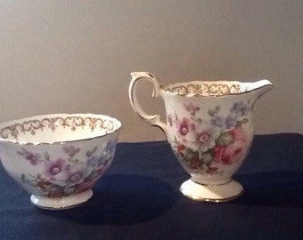 Crown Staffordshire Englands bouquet sugar and creamer set