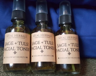 sage + tulsi facial toner, organic toner, vegan toner, herbal toner