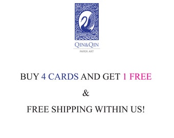Buy 4 cards and get 1 free + free shipping