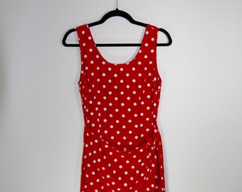 90s My Michelle wrap front red polka dot sundress size m/l