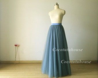 Dusty Blue Soft Tulle Skirt /Dusty Blue Adult Women Horsehair Tulle Skirt Long Skirt//Wedding Dress Underskirt/Bridesmaid/Bachelorette TuTu