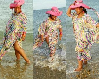swim wear coverup,  beach wear kaftan  in multicolour print with  chiffon fabric