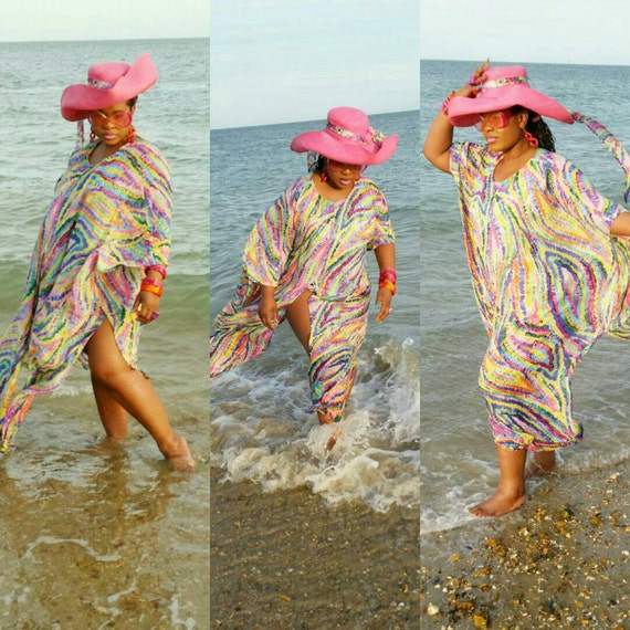 Gorgeous swimsuit coverup beach wear kaftan in multicolour print with  chiffon fabric