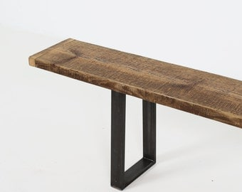 Wood Bench, Reclaimed Wood Bench with U profile Metal Legs,
