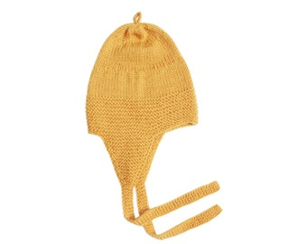 SALE 25% OFF Hand Knitted Merino Lambswool Baby, Toddler & Kids Earflap Hat in Yellow, Pearl Blue and Light Pink