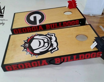 UGA Cornhole boards with scoreboard,  black trim, and letters on the sides Great for tailgating,  and outdoor activities!