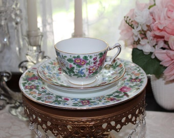Crown Staffordshire Fine Bone China Floral Patterned Tea Cup, Saucer, and Desert Plate,   Made in Staffordshire England Teacup