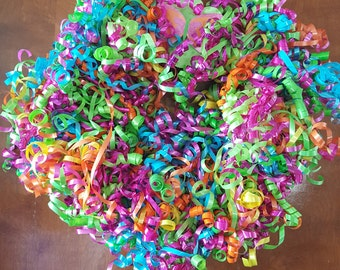 12 inch multi-colored curly ribbon wreath