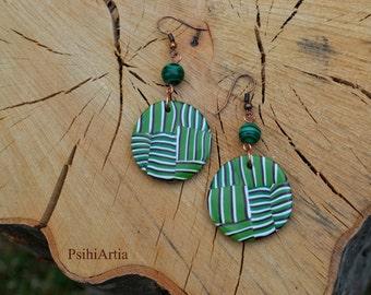 Polymer clay earrings Green earrings Polymer clay jewelry Green jewelry Polymer clay creations Circle earrings Colorful earrings OOAK jewelr