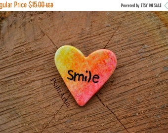 ON SALE Heart shaped brooch Heart brooch Quote brooch Smile brooch Polymer clay brooch Handmade brooch Polymer clay heart