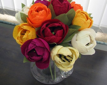 Different colors paper tulips, Crepe paper flower, Handmade tulips table arrangemet, Wedding Flowers, Home Flowers Decor Crepe Paper Bouquet