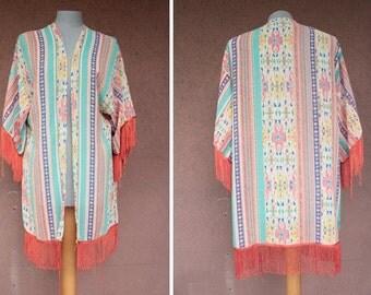 1970's Beach Caftan Jacket - 70's Bohemian Bach Cape - Size Xs to L