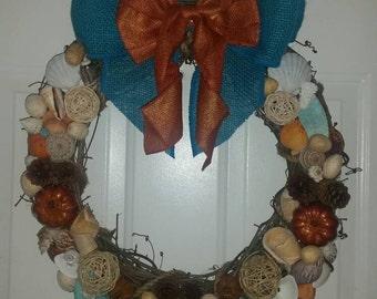 """18"""" Coastal Autumn Wreath, Coastal Wreath, Coastal Decor, Coastal Door Wreath, Fall Decor"""