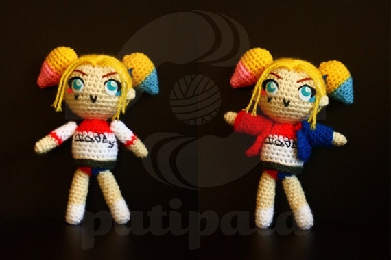 Amigurumi Harley Quinn : Items similar to Harley Quinn (Suicide Squad) - 15cm ...