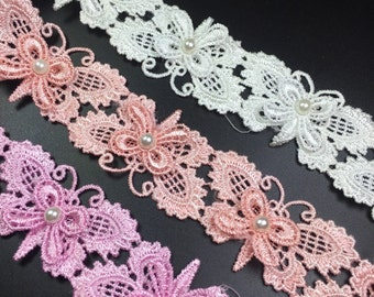 2 Yards 3D Venice lace Trim Exquisite Rose Flower Embroidered  Floral Lace 1.18 Inches Wide YL442