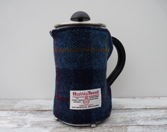 Tartan Cafetiere Cover, Coffee Pot Cosy, Harris Tweed, French Press Cosy Cover, Handmade Scottish Gift, Plaid Gift, navy blue
