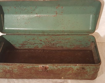 Simsonsen Green Toolbox, Vintage Tool Chest, Rustic Toolbox, Metal Toolbox, Rusty Vintage Tool Storage, Industrial Green Box