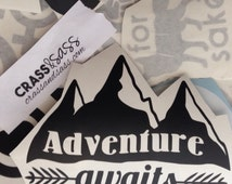 Adventure Awaits Decal, Adventure Sticker, Mountains Car Decal, Gifts for Hikers, Recreation Sticker, Motivational Decal