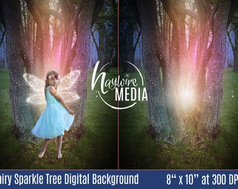 Magical Child Fairytale Enchanted Forest Digital Photo Backdrop Background for Photographers - Sparkle Fairy Tree - Instant Download