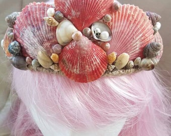Mermaid crown, hand made with natural sea shells.  Fun accents make this crown a unique work of art. Wear it as a mermaid, or a beach bride