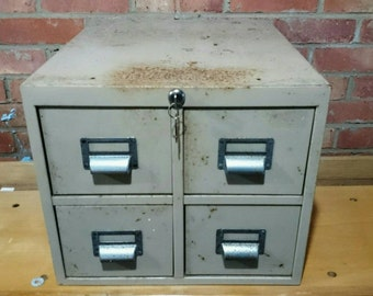 Vintage 1940s Military Industrial Four Drawer Metal Index Card Filing Cabinet / Very Heavy with Keys