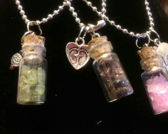 Glass Vial Healing Crystal Necklace