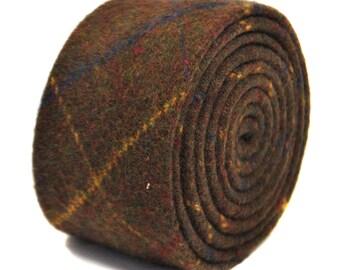 chocolate brown, blue checked 100% tweed wool tie by Frederick Thomas FT2143