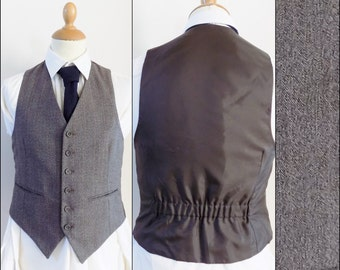 Mans light brown fitted vest waistcoat smart wool waistcoat size small