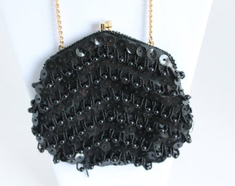 Black Beaded Purse, Artel, Black Formal Clutch, Gold Chain Strap, Evening Bag