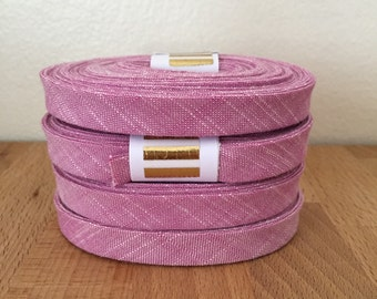 """Bias Tape- Kaufman Manchester Yarn-Dyed Violet Chambray 1/2"""" Double-fold Cotton binding- 3 yard roll"""