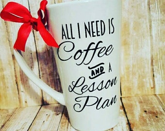 Coffee and Lesson Plan Mug // Teacher //  16oz Tall Coffee Ceramic Mug // Coffee Cup // Back to School // Teacher Gift // HANDWASH ONLY