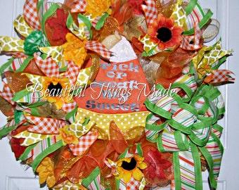 Clearance Blow Out Sale!!! Halloween Wreath, Front Door Wreath, Deco Mesh Wreath, Candy Corn Wreath, Halloween Decor, Door Hanger As is.