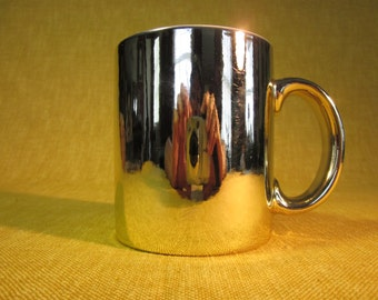 Gold glazed mug, white inside, for coffee ,for 50th golden wedding Anniversary, made in Taiwan, hand wash ,do not microwave
