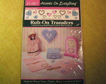 Rub-on transfers,Young At Heart,Hearts,by Plaid, quick & easy, for wood,plastic,glass,etc, 15 designs