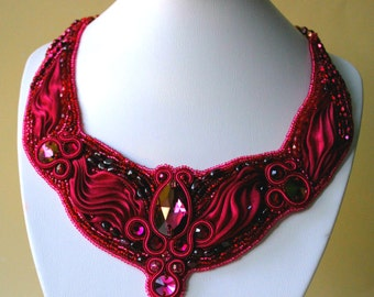 NECKLACE Bib necklace Soutache Jewelry Shibori Necklace One Of A Kind Garnet stones Swarovski