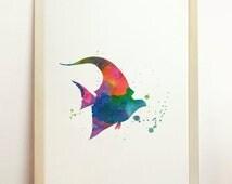 Findind Nemo Gill Print Watercolor Fish Art Marine Life Poster Surgeonfish Illustration Painting Wall Zanclus Cornutus Funny Cute Decor