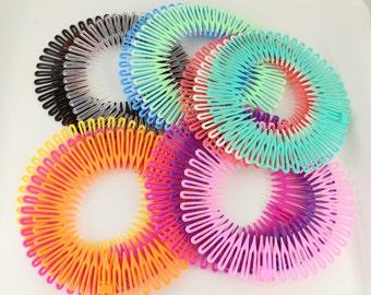3 Flex spider hair headband comb teeth accordion spring coil stretch head band Set of 3
