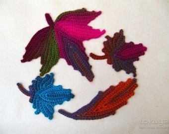 4 Crochet leaf appliques -- Autumn leaves