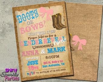BOOTS of BOWS Gender Reveal INVITATION - boots or bows - gender reveal ideas - boots and bows gender reveal  western gender reveal  sprinkle