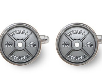 barbell cufflinks dumbbell cufflinks fitness cuff links weightlifting gym crossfit workout jewelry -with gift box
