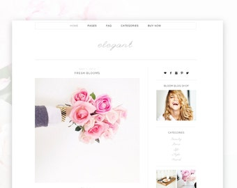 Elegant- Minimalist Wordpress Theme  — RESPONSIVE Wordpress Blog Theme — Self-hosted Wordpress Blog Theme — Feminine Website