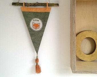 Custom Pennant Flag/Wool Felt Pennant/Wall Pennant Flag/Wallhanging/Kids Room Decor/Fox/Woodland Nursery Decor