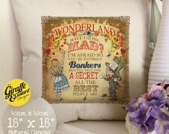 ALICE IN WONDERLAND Cushion Pillow Cover Large Cotton Canvas Mad Hatter and Alice