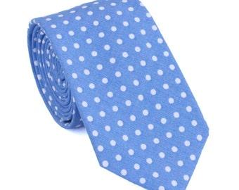 Mens Necktie Blue with White Polka Dots Skinny Tie
