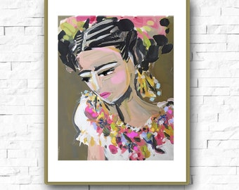Portrait Print, Abstract Frida, impressionist modern abstract woman paper or canvas
